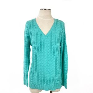 Croft & Barrow- Pool Blue Cable V-Neck Sweater S